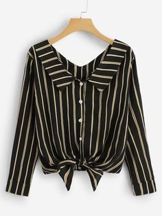 Casual Button and Knot Striped Shirt Regular Fit Collar Long Sleeve Placket Black Vertical Striped Knotted Hem Shirt Girls Fashion Clothes, Fashion Outfits, Clothes For Women, Trendy Outfits, Cute Outfits, Dress Shirts For Women, Skirt Outfits, Blouse Designs, Tops