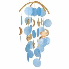 Moon & Stars - Capiz Shell Windchime - pagan wiccan witchcraft magick ritual supplies