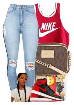 """Join My Group. Link in D."" by beautifulme078 ❤ liked on Polyvore featuring NIKE, American Apparel and Michael Kors"