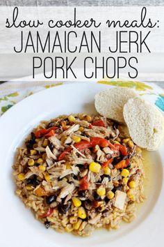 Crockpot Jamaican Jerk Pork Chops at ALittleClaireification.com #recipe #slowcooker #crockpot
