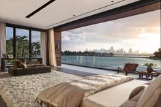 This spectacular oceanfront home was designed by CLF Architects with interiors by Dunagan Diverio Design Group, located on the Venetian Islands, in Miami Beach, Florida. Beautiful Home Designs, Beautiful Homes, Dream Home Design, My Dream Home, Future House, Waterfront Homes, House Goals, Dream Rooms, Dream Bedroom