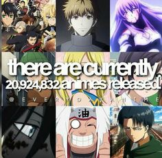 There are currently 20,924,832 animes released, text, anime characters, crossover, Tokyo Ghoul, Fairy Tail, Noragami, Naruto, Attack on Titan; Anime  Please tell me the names of the missing Animes and/or characters if you know