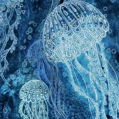 Print from my Illustration 5 x 7 - Deep Sea Jellyfish. $10.00, via Etsy.