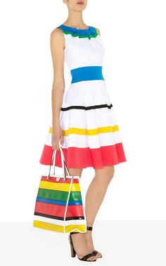 Karen Millen colorful stripe dress Fabric: 10% Polyester,10% Viscose,32% Cotton,48% Acetate Wash care: Do Not Bleach, Do Not Tumble Dry, Do Not Wash, Iron, Steam Or Dry, With Low Heat, Specialist Dryclean  Karen Millen Outlet