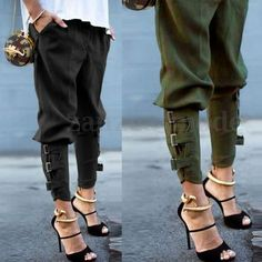 Buy Women Fashion Skinny Pants Harem Pants Cargo Trousers Pencil Pants Legging Plus Size at Wish - Shopping Made Fun Trousers Women, Pants For Women, Trousers Fashion, Legging Plus Size, Army Green Pants, Wide Leg Denim, Wide Legs, Tapered Trousers, Type Of Pants