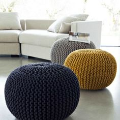 Super soft poufs made of knitted ribbon yarn. Cozy poufs for the interior. Soft furniture Super soft poufs made of knitted ribbon yarn. Cozy poufs for the interior. Pouf En Crochet, Crochet Floor Cushion, Floor Cushions, Diy Crochet, Crochet Simple, Blog Crochet, Diy Pouf, Ribbon Yarn, Crochet Home Decor