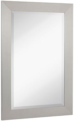 NEW Pewter Modern Metallic Look Rectangle Wall Mirror   Brushed Metal Appearance   Contemporary Simple Design Beveled Glass Vanity, Bedroom, or Bathroom   Hanging Horizontal or Vertical   Made in USA -- For more information, visit image link. (This is an affiliate link) #Mirrors