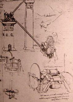 Leonardo da Vinci, drawings of various hydraulic machines