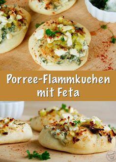 Ein tolles Rezept für würzige Porree-Flammkuchen mit Feta. Perfektes Fingerfood.