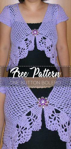 One Button Bolero – Pattern Free – Easy Crochet Crochet Shrug Pattern Free, Knitting Patterns Free, Crochet Patterns, Free Pattern, Bolero Crochet, Crochet Shrugs, Knit Shrug, Crochet Sweaters, Mode Crochet