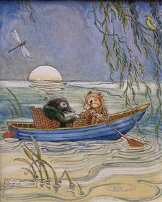 Wind in the Willows illustration by Charles van Sandwyk - simply messing about in boats.