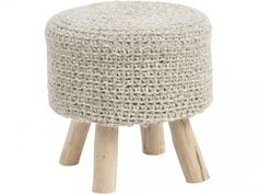 Shop the Mya Modern Round Ivory Wool Upholstered Brown Wood Stool and other Stools & Ottomans at Kathy Kuo Home Ottoman Cover, Pouf Ottoman, Jaipur, Knitted Ottoman, Montana, Small Stool, Wood Stool, Brown Wood, Wood Colors