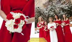 Red and white. The bride has a fur wrap.