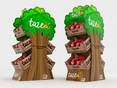 Exhibidor árbol caja de manzanas