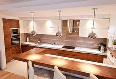 Open kitchen in U-shaped, modern style - image from All Design Agnieszka Lorenc Kitchen Room Design, Kitchen Dinning, Kitchen Sets, Modern Kitchen Design, Kitchen Layout, Home Decor Kitchen, Kitchen Furniture, Kitchen Interior, New Kitchen
