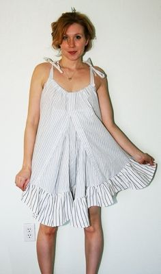 DIY: 2 Men's Shirts to Cute Babydoll Dress .  Free tutorial with pictures on how to sew a babydoll dress in under 120 minutes by dressmaking with thread, sewing machine, and needle. How To posted by carlyjcais. Difficulty: Easy. Cost: Cheap. Steps: 30