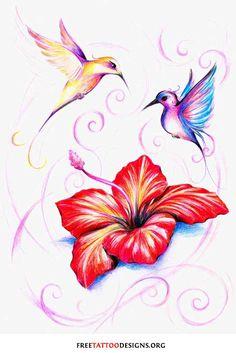 Tattoo of 2 birds flying around a flower