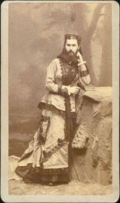 "ca. 1880, [portrait of a bearded woman, ""Mrs. A., Elk County, P.A., Age 24""],  I.W. Taber & Co.  via the Slideshow Ephemera Gallery"