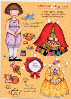 (⑅ ॣ•͈ᴗ•͈ ॣ)♡                                                             ✄Mary Engelbreit Paper Doll - Little Red Riding Hood