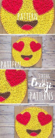EMOJI string art pattern, emoji DIY, fun and modern in love emoji decor.
