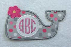 Girlie Whale Triple Monogram Fabric Embroidered Iron On Patch MADE TO ORDER