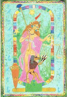 Libra – An Egyptian Zodiac (From 15e Dynasty revisited)  Datum : 23 september – 22 oktober  Design: Kantaro, mixed media on paper , 42 x 60 cm, 1992 Postkaart www.postersquare.com