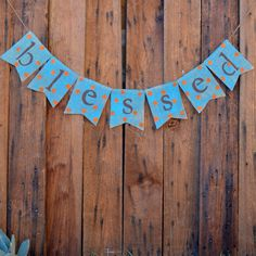 shabby chic BLESSED BURLAP banner for FALL by LylaDee on Etsy