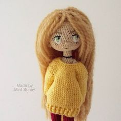 Amigurumi doll in casual sweater by Yulia, happy dollmaker✌ @mint.bunny. (Inspiration).