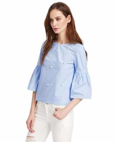 Blue blouse with Trumpet Sleeves and pearl embellished | Blusa con mangas de trompeta y perlas