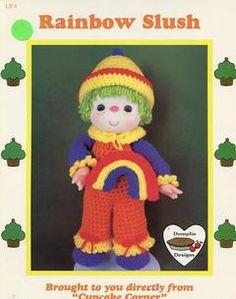 Sewing Patterns,Vintage,Out of Print,Retro,Vogue Simplicity McCall's,Over 7000 - Dumplin Designs Crochet RAINBOW SLUSH DOLL Cupcake corner