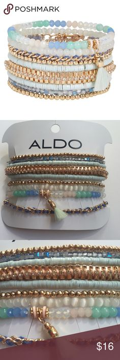 NWT Aldo Perrini Bracelets These brand new with tags pastel stretch bracelets have plastic discs, metal and glass beads, and chains intertwined with textile. - Multi-pack (set) of nine stretch bracelets.  - Bundle with other set of bracelets for $26 and save on shipping!  ALDO Jewelry Bracelets