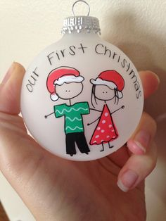A personal favorite from my Etsy shop https://www.etsy.com/listing/165369089/our-first-christrmas-couple-ornament