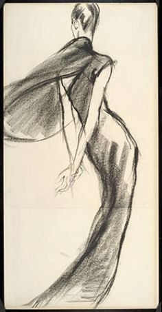 Antonio Lopez Drawing: Evening dress with demi-cape :: Costume and Textile Collection