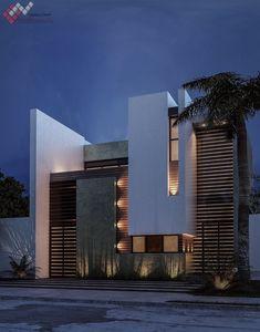 Pin by Sergio De La Vega on Casas in 2019 Modern Exterior House Designs, Modern Villa Design, Dream House Exterior, Exterior Design, Modern Residential Architecture, Facade Architecture, Bungalow House Design, House Front Design, Facade Design