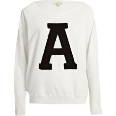 River Island White A applique varsity sweatshirt (270 MXN) ❤ liked on Polyvore featuring tops, hoodies, sweatshirts, sweaters, jumpers, sweat shirts, sale, river island, raglan sleeve top and river island top