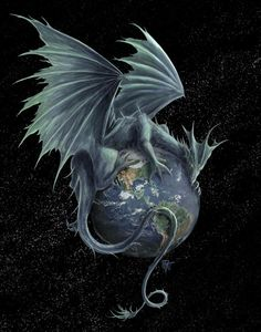Earth Dragon - Rob Carlos could make an incredible upper arm, half chest, half back, side or a totally awe-inspiring upper arm and shoulder draping tattoo if one can find the right artist to do it...especially if they could do it even better as a 3-D realistic and pull those wings into even more striking contrast of shadows.