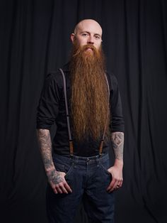 beautiful long thick full red beard and huge mustache beards bearded man men mens' style suspenders tattoos tattooed ginger redhead full length natural epic level bearding #beardsforever