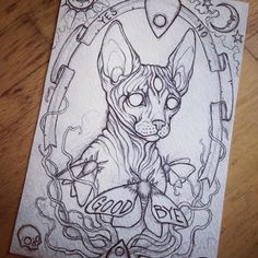 I'm working on a new ghostly sphinx cat piece inspired in part by spirit boards by caitlin_hackett