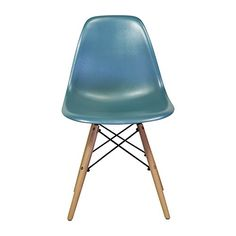 Charles Eames DSW Side Chair Mid Century Modern, Teal Plastic