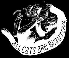 """All Cats Are Beautiful (or, """"ACAB"""") by Ben Passmore x inch screen-printed vinyl sticker suitable for outdoor use. Arte Punk, Gypsy Culture, Punk Tattoo, Tattoos, Skeleton Art, Power To The People, Medium Art, Catwoman, Dark Art"""