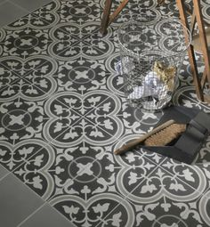 Seville pattern encaustic tiles from Ca' Pietra. Encaustic tiles are made from coloured cement.