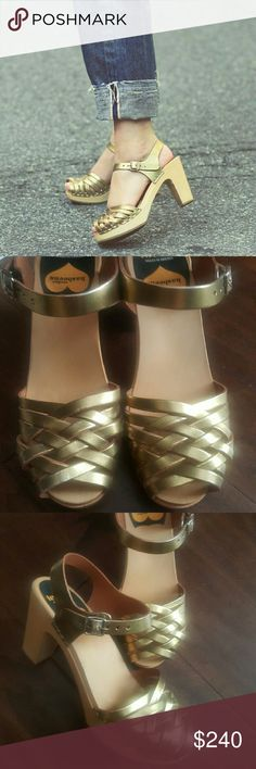 HOLIDAY SALE SWEDISH HASBEENS SALE PRICE FINAL! Absolutely adorable Swedish Hasbeens in gold color. So stunning and are a perfect addition to your wardrobe! Shoes have only been worn once and are in new like condition. Absolutely no flaws! Retails for over 265.00! First credited to eaemileeanne.com. Swedish Hasbeens Shoes