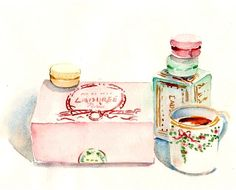 Watercolor #Laduree #macarons #tea