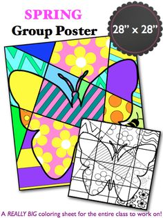 "Create a large (28""x 28"") group poster of a pop art butterfly to celebrate spring. Each student will get to color their own piece of the poster. Laminate your large poster and keep it for years to come!"