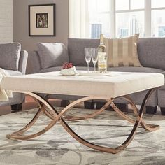 Solene X Base Square Ottoman Coffee Table - Champagne Gold by Inspire Q Leather Living Room Furniture, Farmhouse Living Room Furniture, Painted Bedroom Furniture, Living Room Furniture Arrangement, Living Room Furniture Layout, Living Room End Tables, Living Room Modern, Home Furniture, Dining Furniture