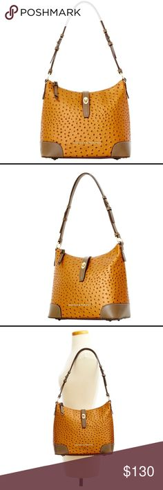 """The Ostrich Collection D B The Ostrich Collection owes its distinctive look to embossed calf leather and gold-plated hardware. Featuring a relaxed, slouchy crescent-shaped construction, this shoulder bag is the epitome of casual, fashionable style.   H 10.75"""" x W 5.25"""" x L 11.5"""" One inside zip pocket. Two inside pockets. Cell phone pocket. Inside key hook. Adjustable strap. Lined. Feet. Turn lock closure. Strap drop length 12.75"""". Bags Totes"""