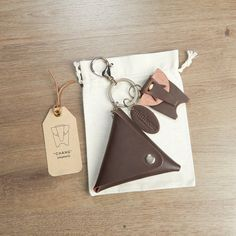 Brown Triangle Coin Wallet with elephant by miniMoreLeather