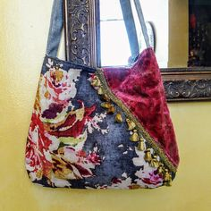 Spring floral boho bag pink velvet crossbody purse