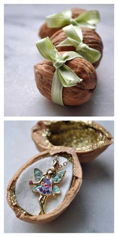 DIY Fairy Walnut Gift Box Tutorial from Curly Birds. This Fairy Walnut Gift Box is so quick and easy to make. It's the perfect Christmas/Holiday packaging for a small precious gift.At the link there is a trick about heating the walnuts to make them easier to open. Then add glitter and a ribbon.