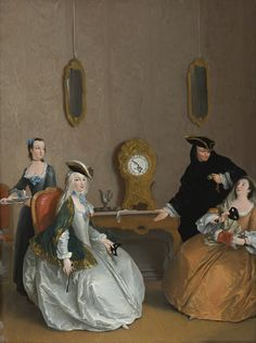 The Hour of the Masked Ball by Charles-Joseph Flipart, Paris 1721-1797 Madrid. The figures await the start of a ball; the costumed gentleman, holding his pocket watch, motions to clock; the seated ladies, masks in hand, are poised for the festivities to commence.   Sotheby's.